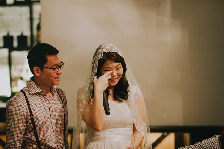 Vineyard Hortpark intimate wedding bride crying