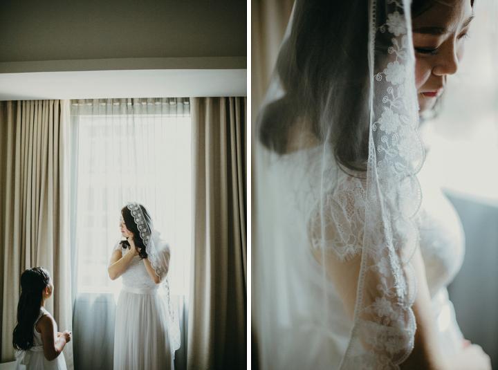 Beautiful bride wrap around veil